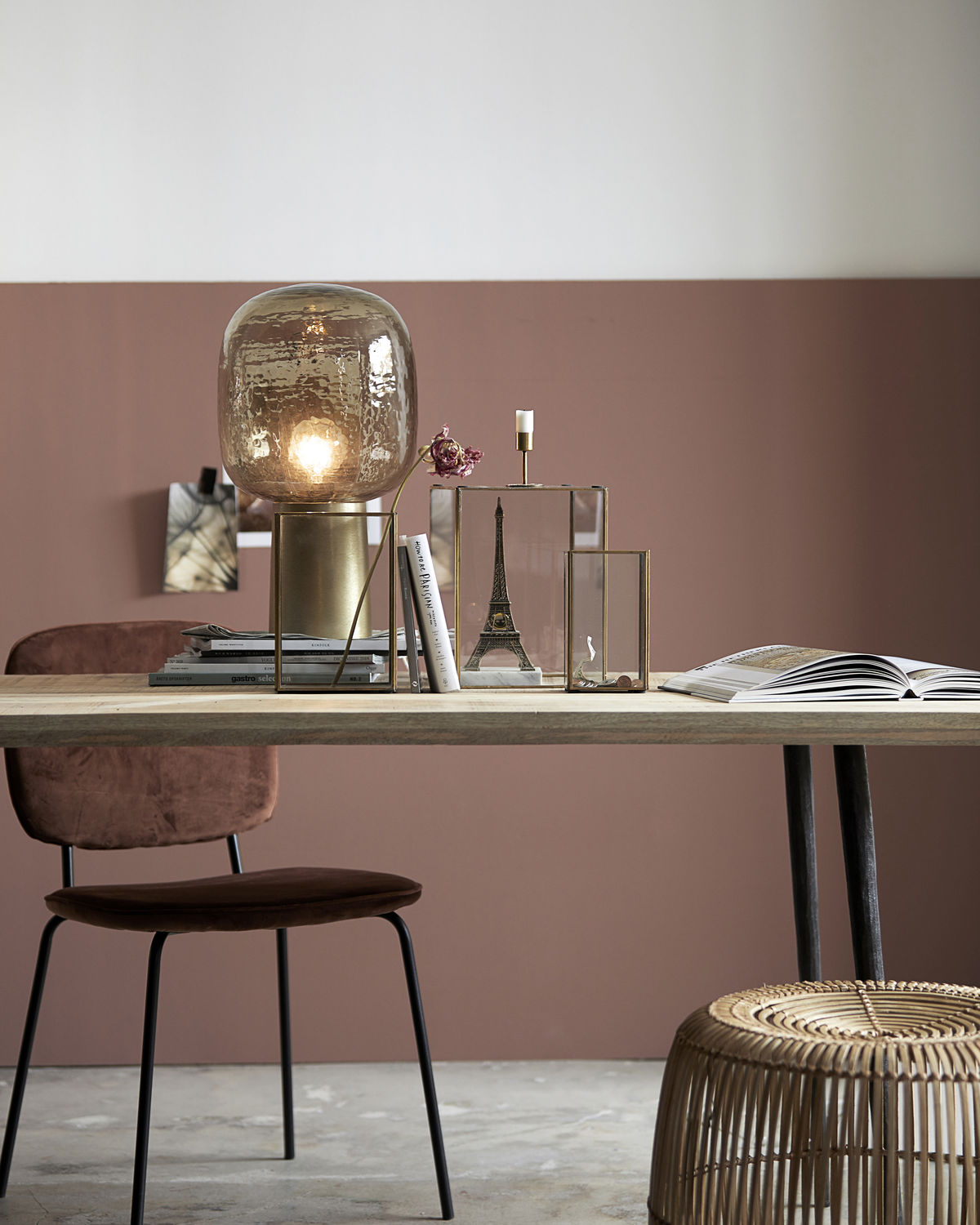 Table lamp, Note, Grey/Brass, E27, Max 25 W, 2.5 m cable