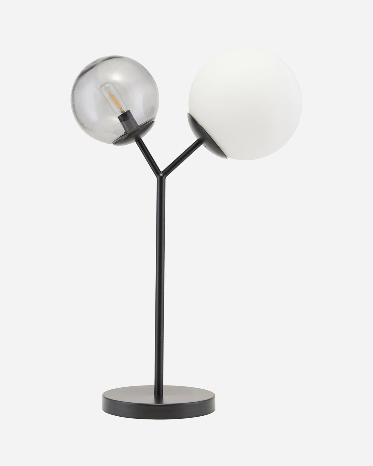 Table lamp, Twice, Black, E14, Max 25 W, 2.5 m cable, Handmade glass