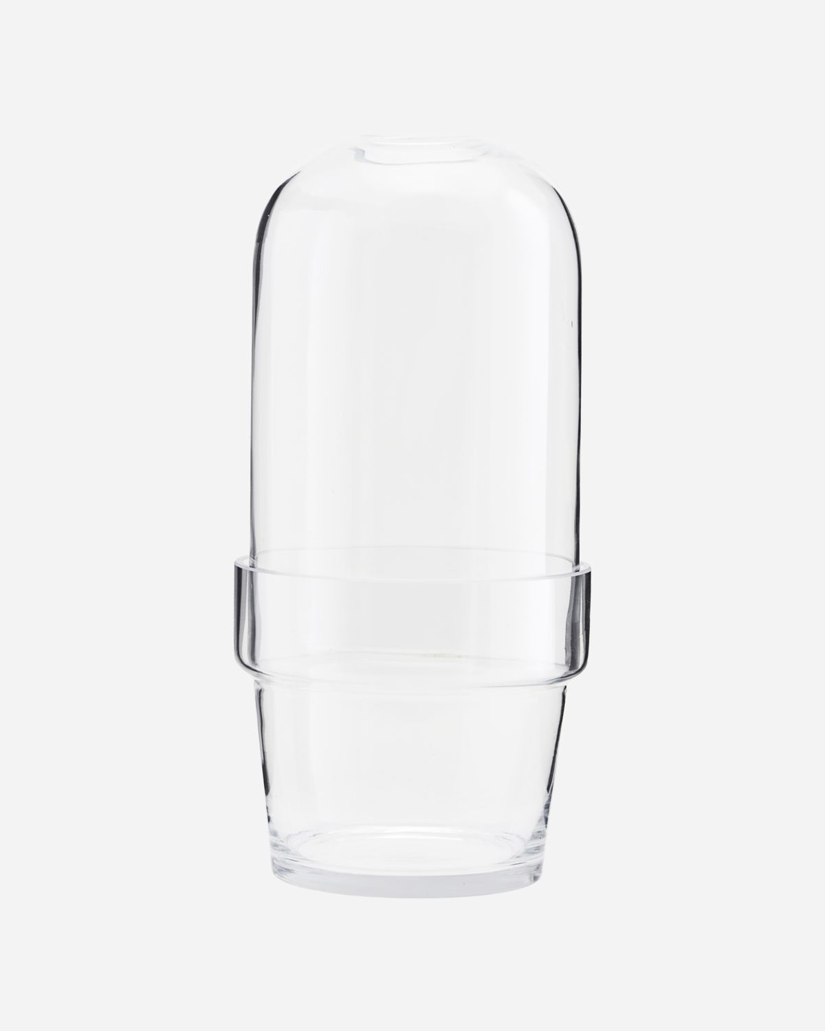 Glass bell w. planter, Clear