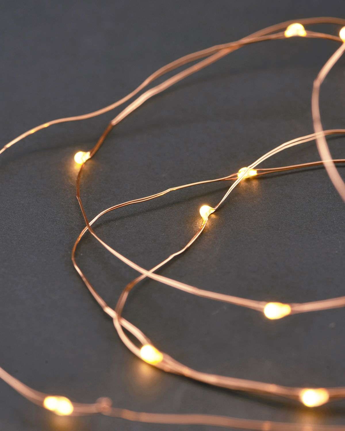 String lights, 10 m, Copper, 80 Lights, Bulb space: 10 cm, Batteries w. timer function, (Battery AA)