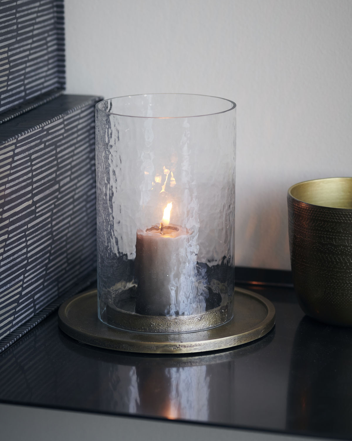 Candle stand, Cylo, Antique brass, Finish/Colour may vary